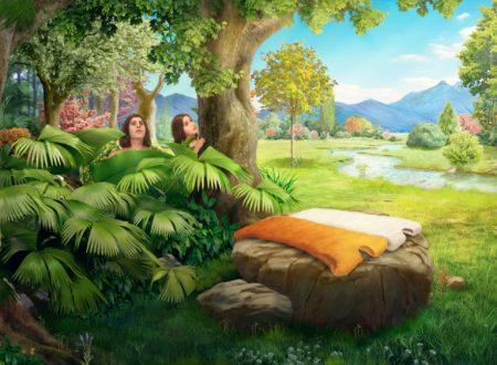 Dio prepara tuniche di pelle per Adamo ed Eva